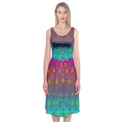 Years Of Peace Living In A Paradise Of Calm And Colors Midi Sleeveless Dress