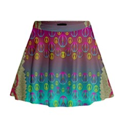 Years Of Peace Living In A Paradise Of Calm And Colors Mini Flare Skirt
