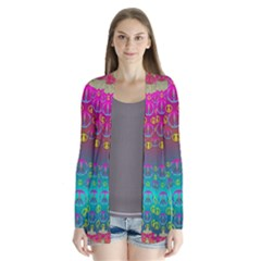 Years Of Peace Living In A Paradise Of Calm And Colors Drape Collar Cardigan