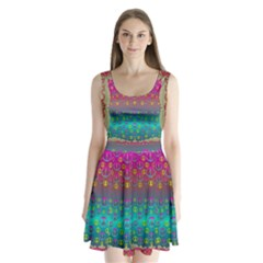 Years Of Peace Living In A Paradise Of Calm And Colors Split Back Mini Dress