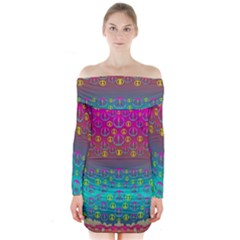 Years Of Peace Living In A Paradise Of Calm And Colors Long Sleeve Off Shoulder Dress