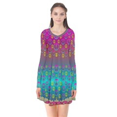 Years Of Peace Living In A Paradise Of Calm And Colors Flare Dress