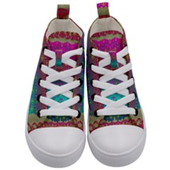 Years Of Peace Living In A Paradise Of Calm And Colors Kid s Mid Top Canvas Sneakers