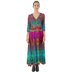 Years Of Peace Living In A Paradise Of Calm And Colors Button Up Boho Maxi Dress