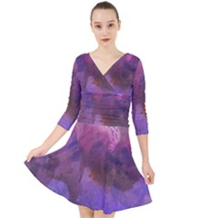 Ultra Violet Dream Girl Quarter Sleeve Front Wrap Dress