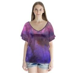 Ultra Violet Dream Girl V Neck Flutter Sleeve Top