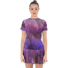 Ultra Violet Dream Girl Drop Hem Mini Chiffon Dress