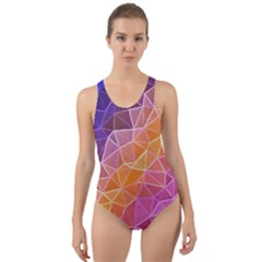 Crystalized Rainbow Cut Out Back One Piece Swimsuit