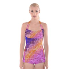 Crystalized Rainbow Boyleg Halter Swimsuit
