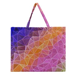 Crystalized Rainbow Zipper Large Tote Bag