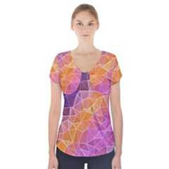Crystalized Rainbow Short Sleeve Front Detail Top