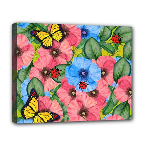 Floral Scene Deluxe Canvas 20  X 16