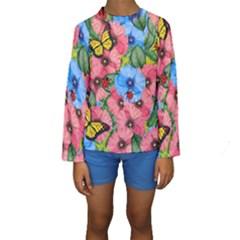 Floral Scene Kids  Long Sleeve Swimwear