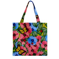 Floral Scene Grocery Tote Bag