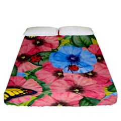 Floral Scene Fitted Sheet (queen Size)