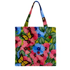 Floral Scene Zipper Grocery Tote Bag