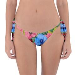 Floral Scene Reversible Bikini Bottom