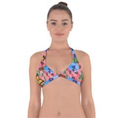 Floral Scene Halter Neck Bikini Top