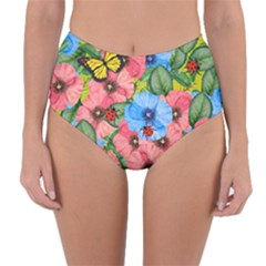 Floral Scene Reversible High Waist Bikini Bottoms