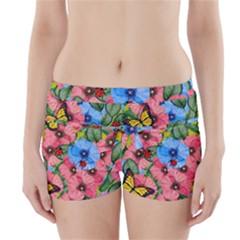 Floral Scene Boyleg Bikini Wrap Bottoms