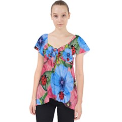 Floral Scene Lace Front Dolly Top