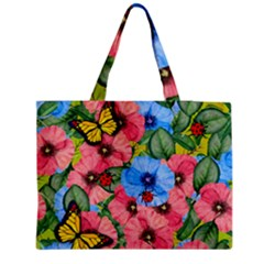 Floral Scene Zipper Medium Tote Bag