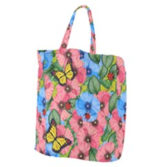 Floral Scene Giant Grocery Zipper Tote