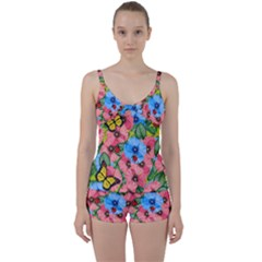 Floral Scene Tie Front Two Piece Tankini