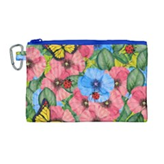 Floral Scene Canvas Cosmetic Bag (large)