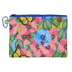 Floral Scene Canvas Cosmetic Bag (xl)