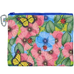 Floral Scene Canvas Cosmetic Bag (xxxl)