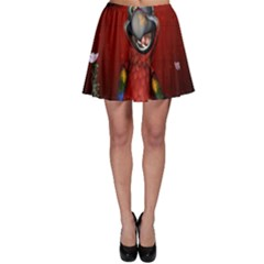 Funny, Cute Parrot With Butterflies Skater Skirt