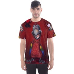 Funny, Cute Parrot With Butterflies Men s Sports Mesh Tee