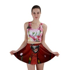 Funny, Cute Parrot With Butterflies Mini Skirt