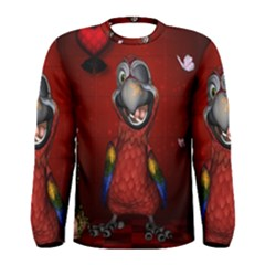 Funny, Cute Parrot With Butterflies Men s Long Sleeve Tee