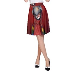 Funny, Cute Parrot With Butterflies A Line Skirt