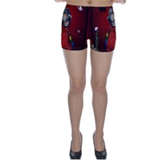 Funny, Cute Parrot With Butterflies Skinny Shorts