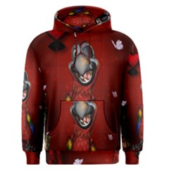 Funny, Cute Parrot With Butterflies Men s Pullover Hoodie
