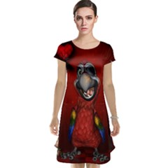 Funny, Cute Parrot With Butterflies Cap Sleeve Nightdress