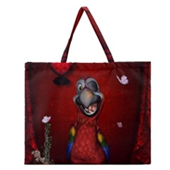 Funny, Cute Parrot With Butterflies Zipper Large Tote Bag