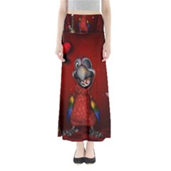 Funny, Cute Parrot With Butterflies Full Length Maxi Skirt