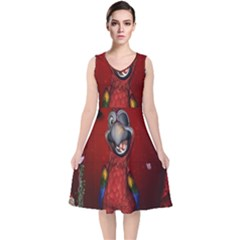 Funny, Cute Parrot With Butterflies V Neck Midi Sleeveless Dress