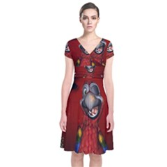 Funny, Cute Parrot With Butterflies Short Sleeve Front Wrap Dress