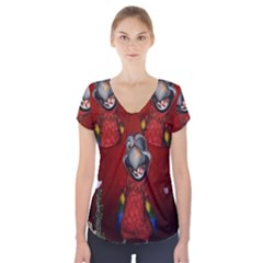 Funny, Cute Parrot With Butterflies Short Sleeve Front Detail Top