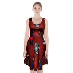 Funny, Cute Parrot With Butterflies Racerback Midi Dress