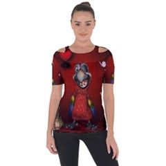 Funny, Cute Parrot With Butterflies Short Sleeve Top