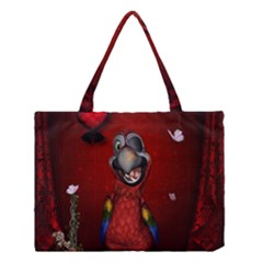 Funny, Cute Parrot With Butterflies Medium Tote Bag