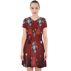 Funny, Cute Parrot With Butterflies Adorable In Chiffon Dress