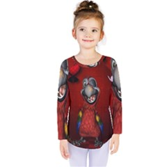Funny, Cute Parrot With Butterflies Kids  Long Sleeve Tee