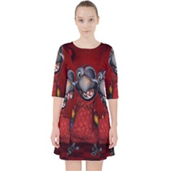 Funny, Cute Parrot With Butterflies Pocket Dress
